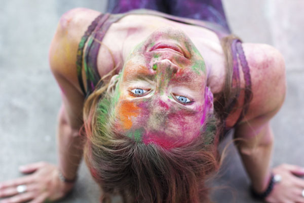 woman covered in chalk