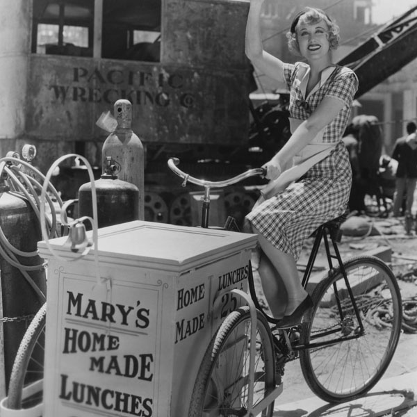 Vintage woman delivering lunch