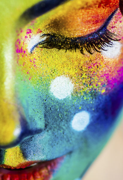 Woman with glitter face