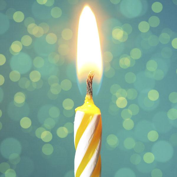 Birthday candle burning bright