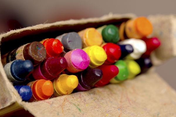 Worn color crayons
