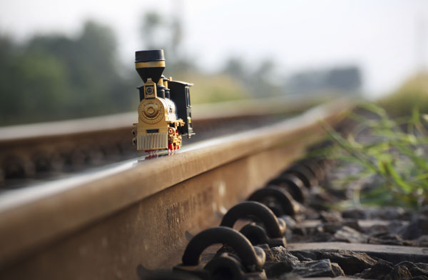 Toy train on track