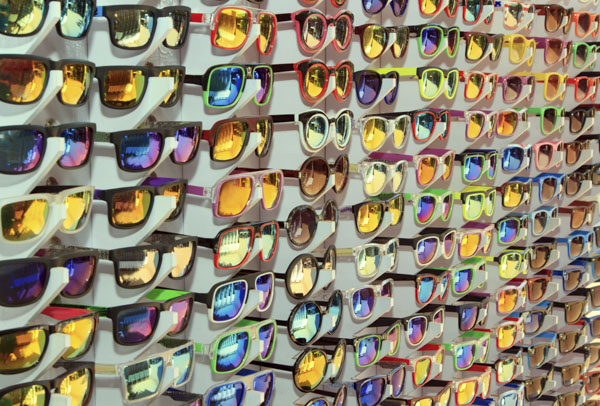 Wall of sunglasses