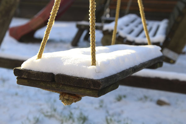 Swing with snow
