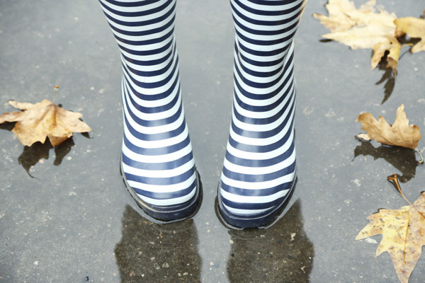 Striped rainboots