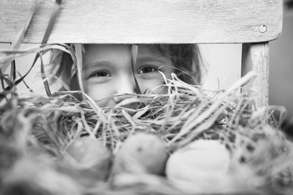 Girl looking at eggs