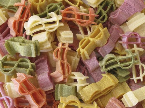 Dollar symbol pasta
