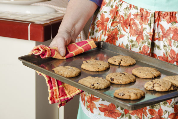 Chocolate chip cookies on cookie sheet