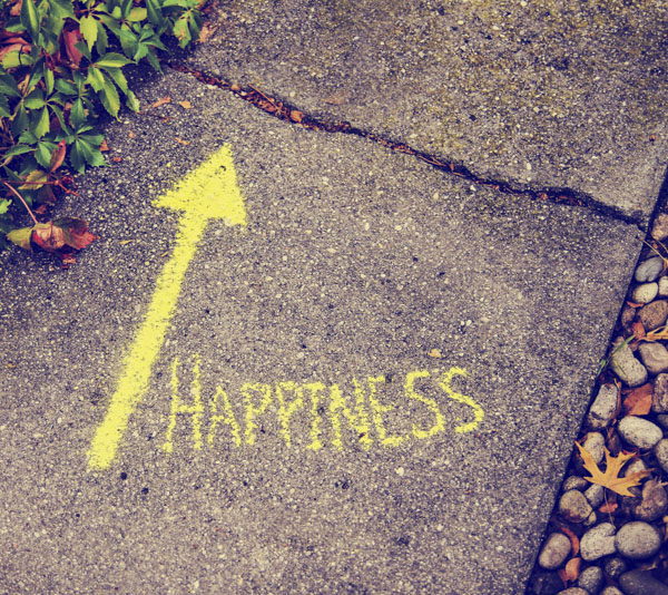 A path with a sign saying happiness