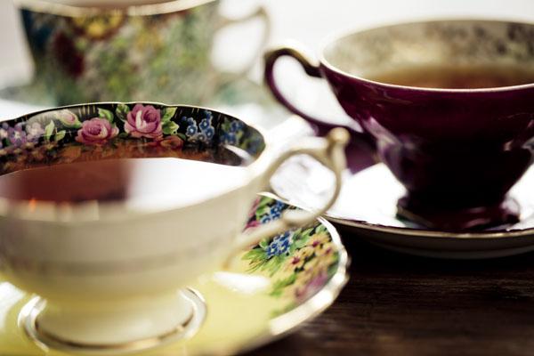 Tea time with vintage tea cups