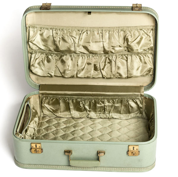 Open vintage travel case