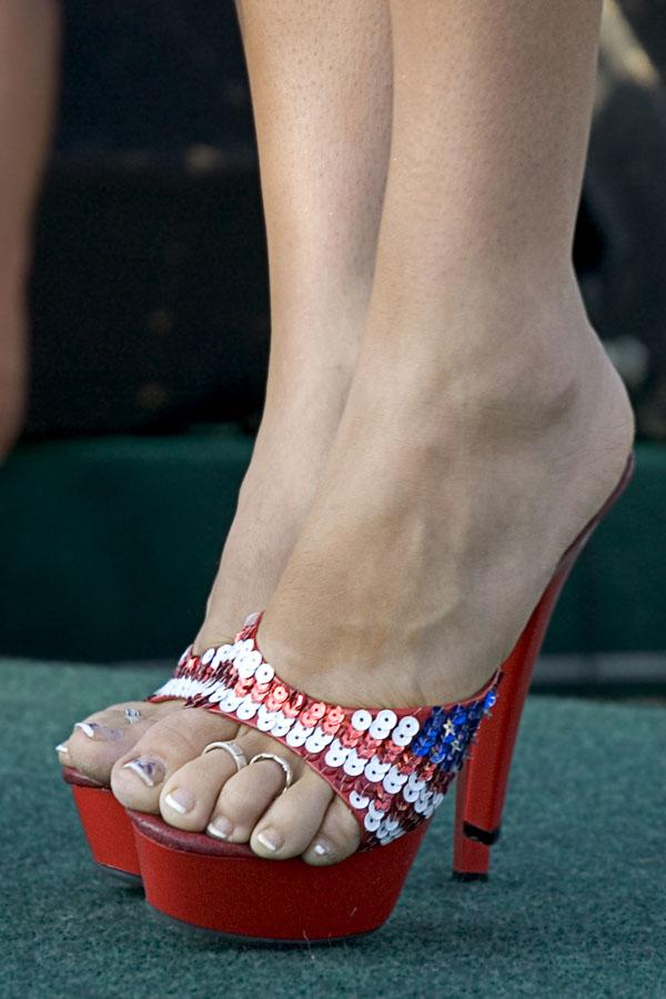Patriotic sequin flag high heels
