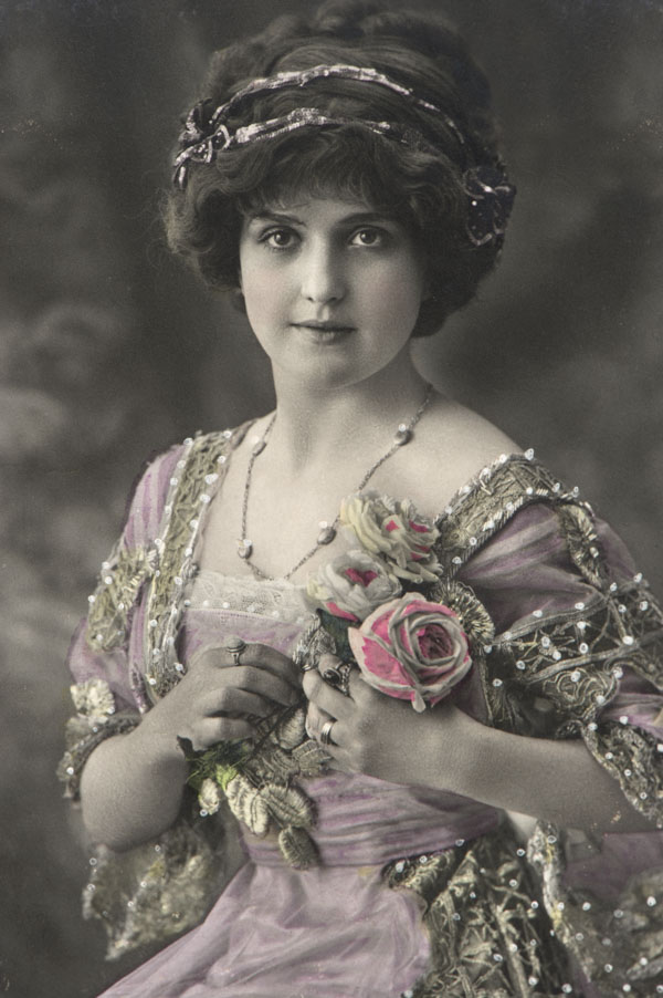 Vintage woman with flower pin