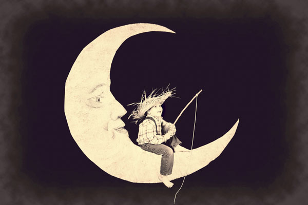 Vintage boy fishing on the moon