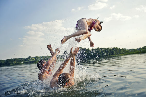 People playing in water