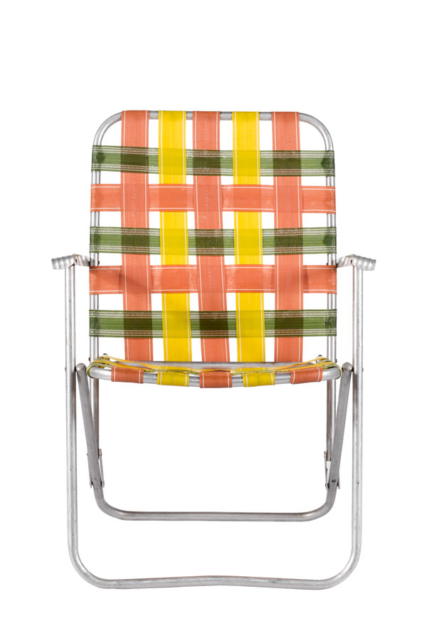 Orange and green strapped aluminum lawn chair