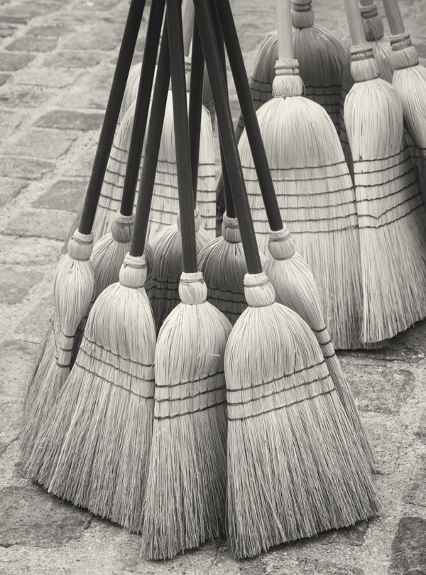 Old fashioned brooms