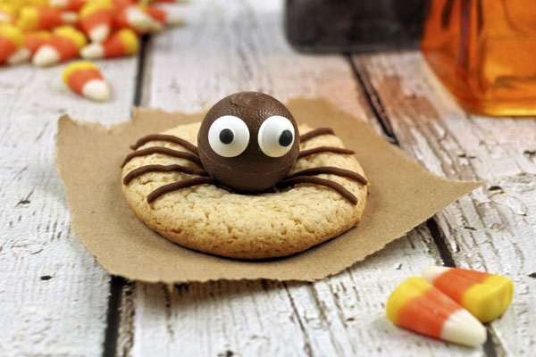 Cookie with candy spider