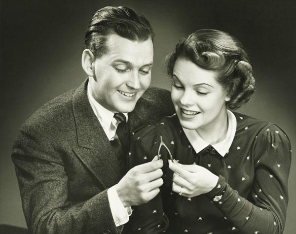 Couple pulling wishbone
