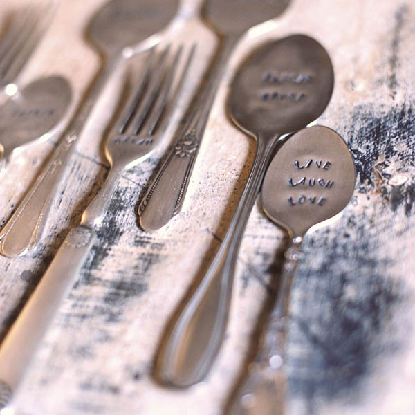 Vintage silver etched with inspirational words