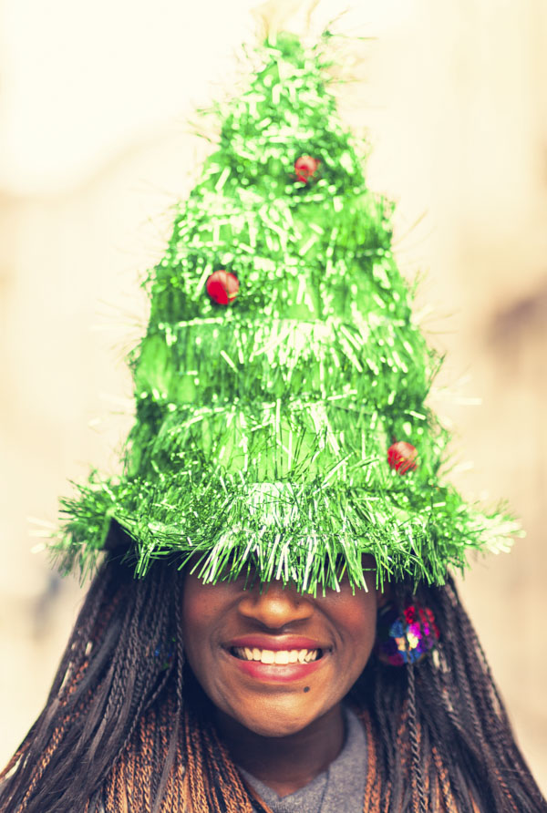 Woman with Christmas tree hat