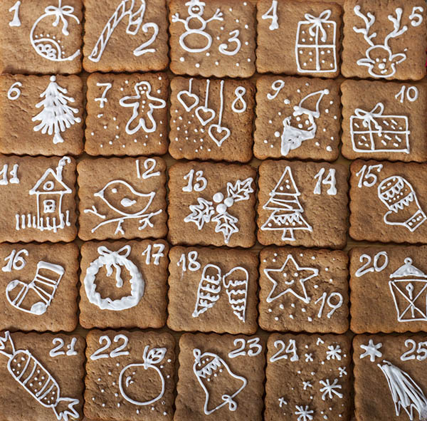 Gingerbread cookie advent calendar