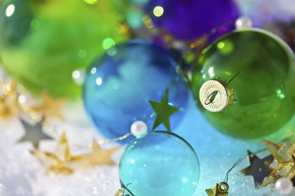 Blue and green Christmas balls