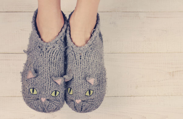 Worn and cozy kitten slippers