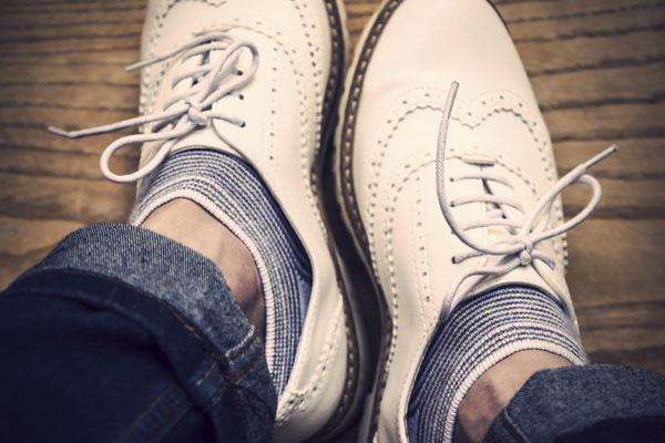 White shoes on man