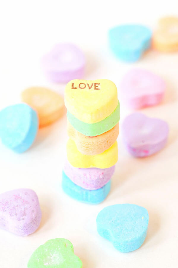 Stacked Valentine candy conversation hearts