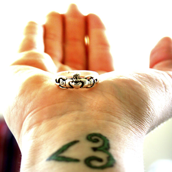 Heart tattoo and claddagh ring