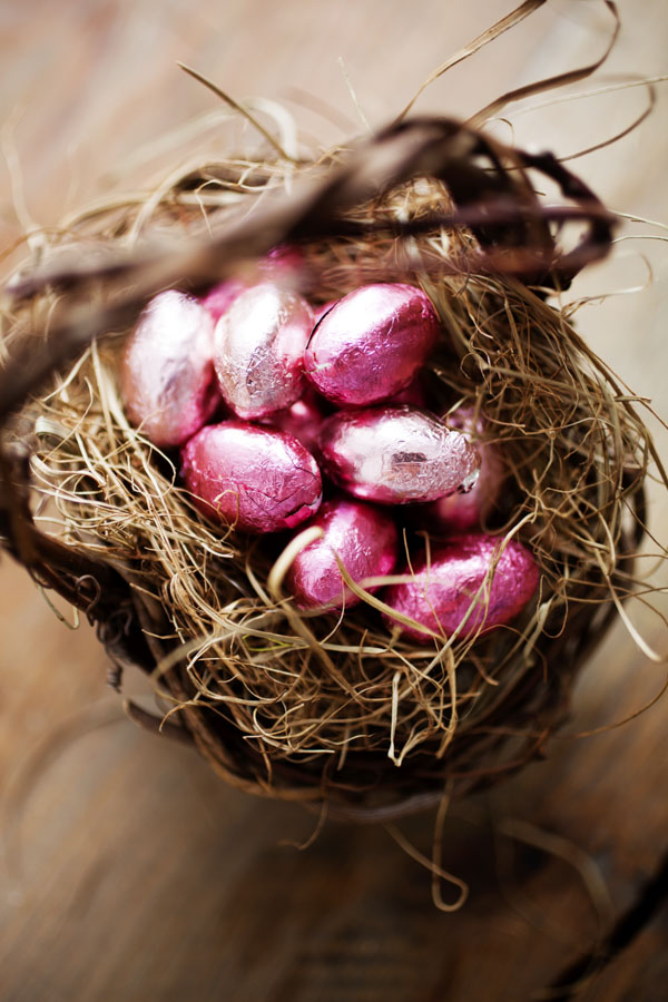 Foil-wrapped chocolate eggs in Easter basket