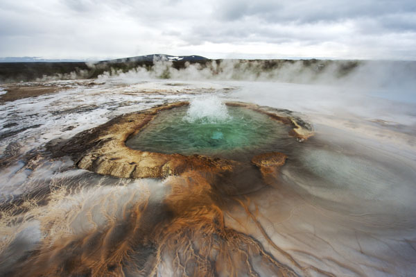 Pool with boiling geothermal water at Hveravellir, Iceland