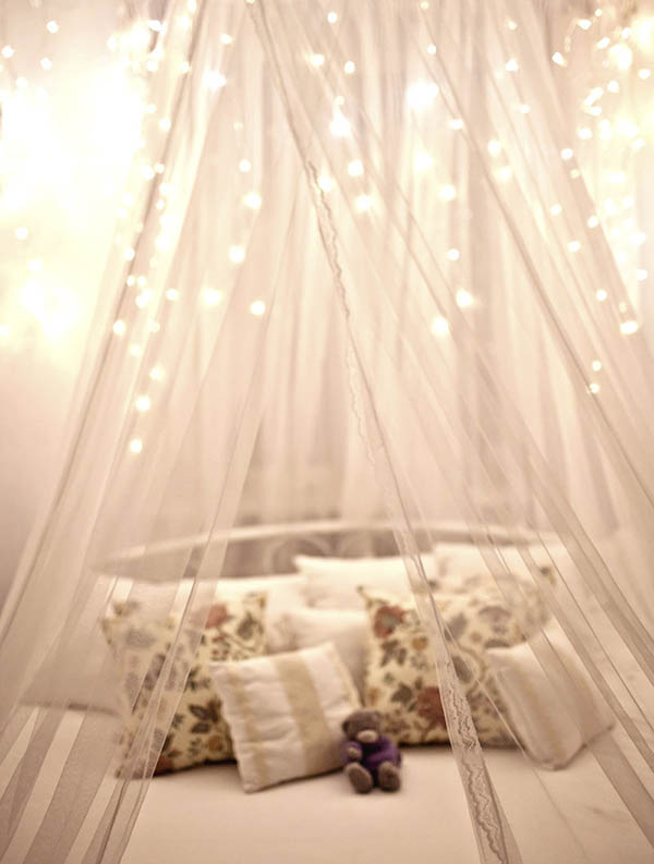 Child's bed with twinkle lights