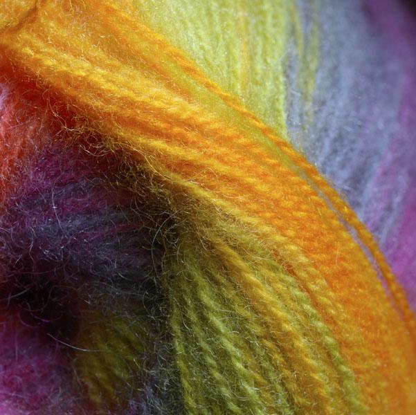 Skein of rainbow colored wool