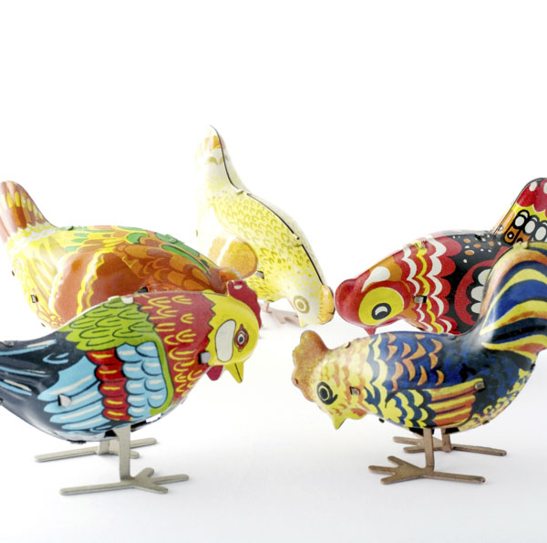 Vintage wind-up toy chickens