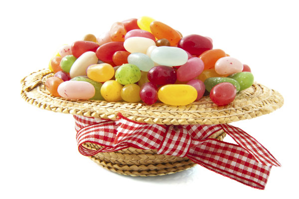 Upside down hat filled to the brim with jelly beans