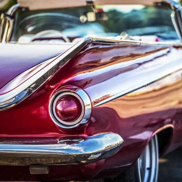 Hot pink classic vintage car