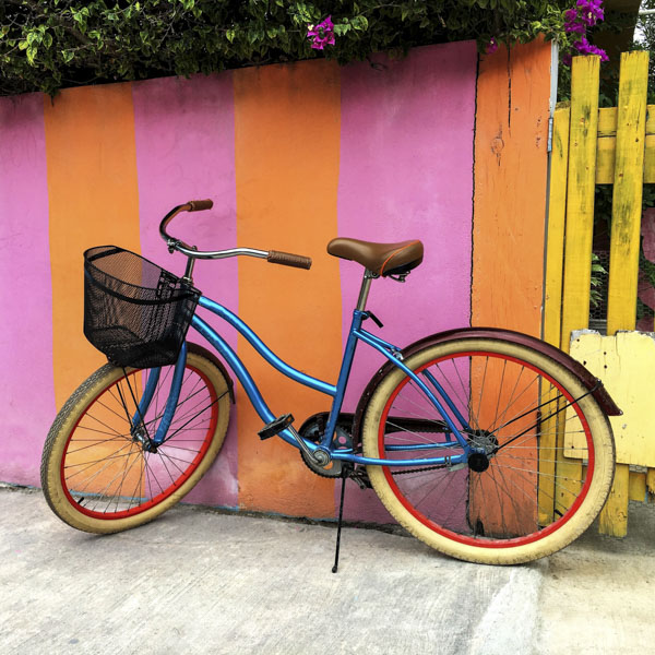 Colorful rainbow bicycle with basket
