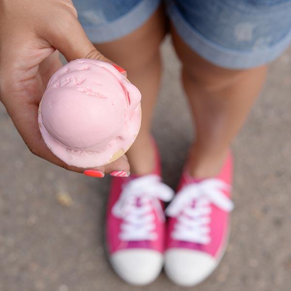 Girl holding ice cream cone