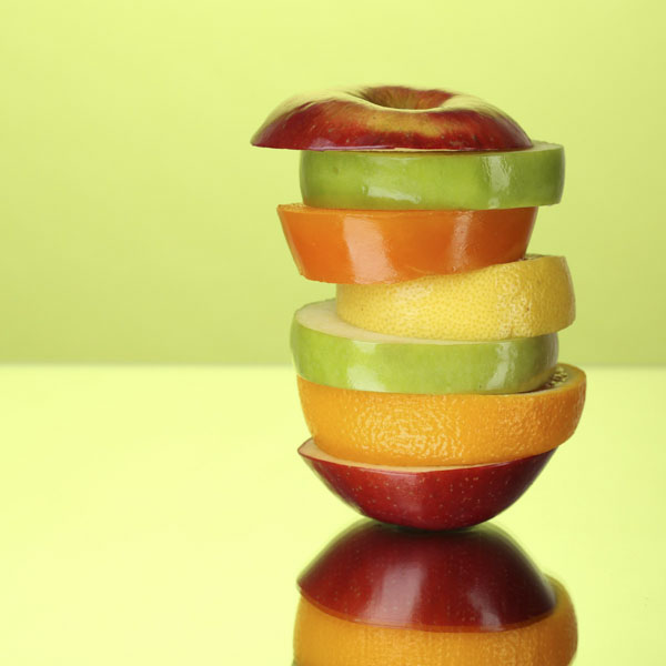 Stacked slices of fruit