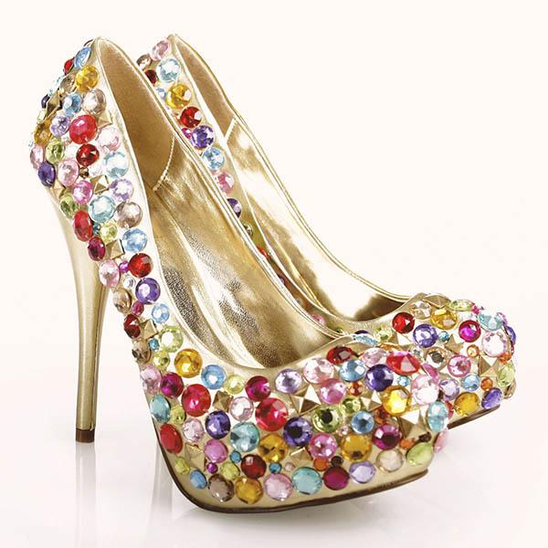 Rhinestone covered high heels