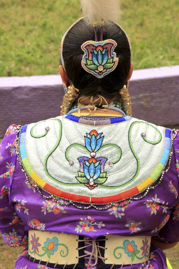 Woman in Native American tribal costume