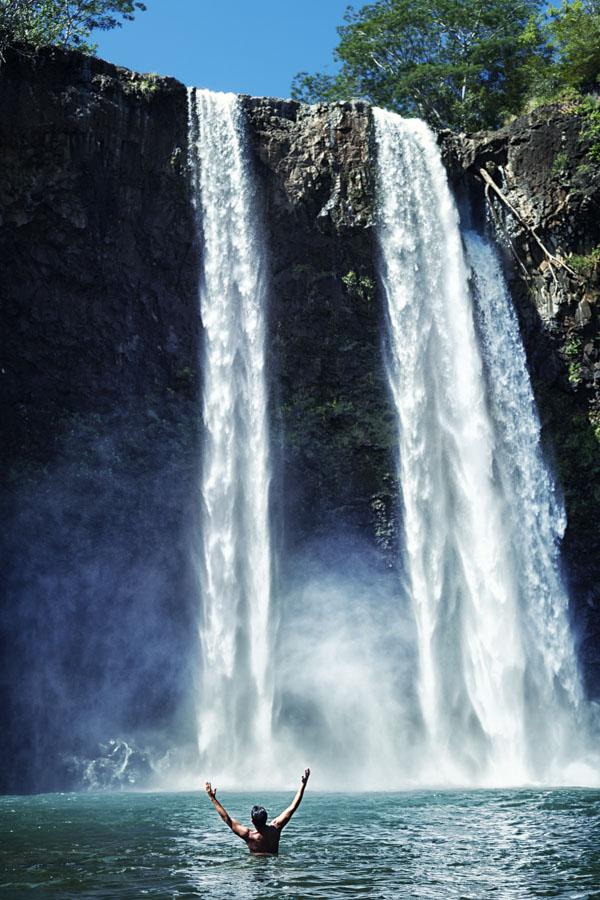 Joy at waterfall