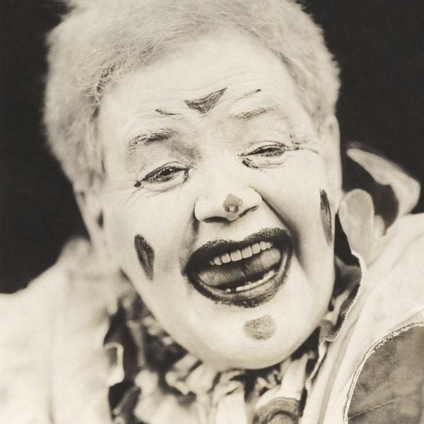 Clown in full makeup
