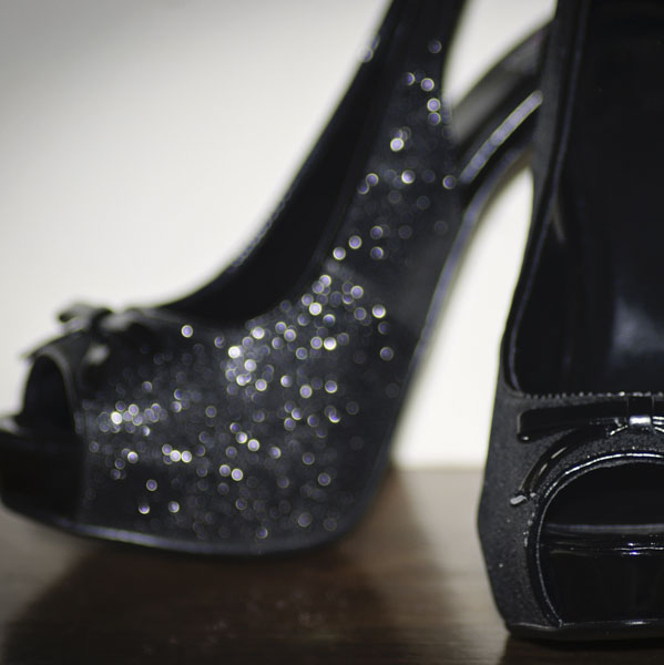Glittering black high heels