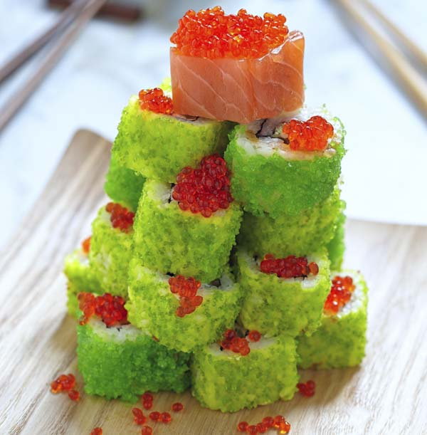 Christmas tree made out of sushi