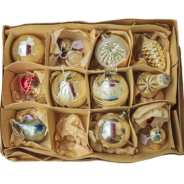 Vintage Christmas ornaments in box