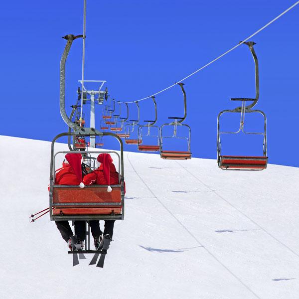 Santas on ski lift