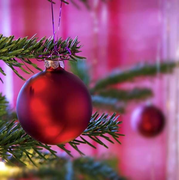 Red ball on Christmas tree with pink background